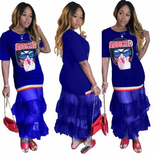 Women Cute Girl Printed Crew Neck Short Sleeve Mesh Patchwork Casual Long Dress