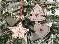 3 x White Wood Nordic Style Christmas Tree Decorations Heaven Sends Star Heart