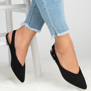 Womens-Ladies-Slip-On-Suede-Slingback-Ballet-Pointed-Toe-Flats-Casual-Shoes-Size
