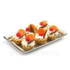 6 Meuble Maison de poupées miniature Chocolat Orange tartelettes sur un plateau  </span>