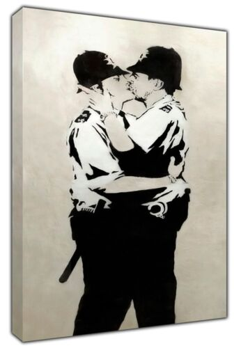 Details about  /Banksy  Kissing Coppers Paint PRINT ON FRAMED CANVAS WALL ART  Decoration