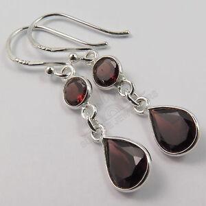 Natural GARNET Gemstones Fashion Jewelry Cute Earrings 925 Solid Sterling Silver