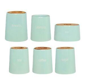 Tea-Coffee-Sugar-Biscuit-Utensil-amp-Bread-Crock-Storage-Canister-Jar-Blue-Ceramic