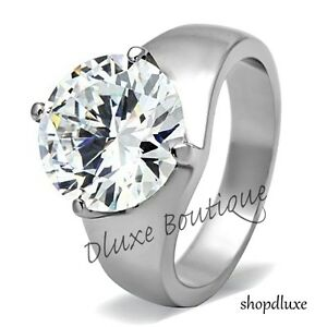 Women-039-s-Round-Cut-Solitaire-AAA-CZ-Stainless-Steel-Engagement-Ring-Band-Sz-5-10