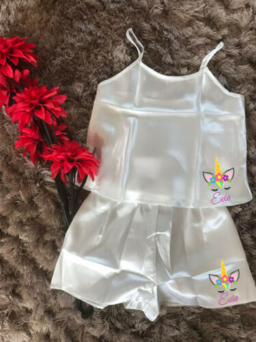 Personalised UNICORN Girl/'s Cami Pyjama Set in Satin Nightwear Summer PJ/'s