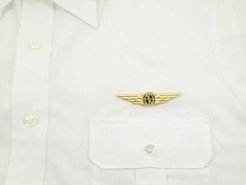 GOLD w// Buttery Fly Clasps Luso Aviation PILOT WINGS Aviator Shirt Lapel Pin