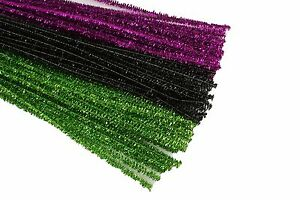 Details About Halloween Set Of 75 Metallic Tinsel Chenille Pipe Cleaners For Kids Crafts