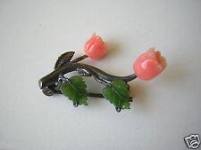 Kleine 925 Sterling Silber Brosche geschnitzte Koralle Tulpen? Jade Blätter 3 g