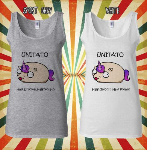 Unitato Half Unicorn Potato Funny Men Women Vest Tank Top Unisex T Shirt 1626