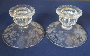 Pair-Crystal-Cambridge-Glass-Co-034-ROSE-POINT-034-Single-Lite-Candlestick-Holders