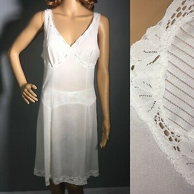 vintage full slip dress white lace midi lingerie petticoat