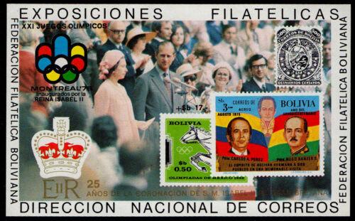 BOLIVIA, MICHEL # BLK80 MINI SHEET OF XXI JUEGOS OLIMPICOS, REINA ISABEL II, MNH