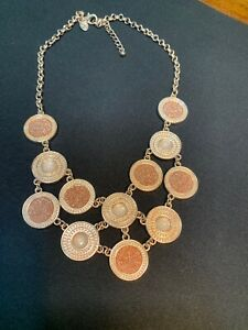 """Bib Statement Necklace Glitter Rose Gold Chain Sparkly cabochon signed 18"""" Long"""