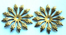 #1395 Vintage Brass Flower Connectors Spacer Stackable Flowers 38mm Flower Power