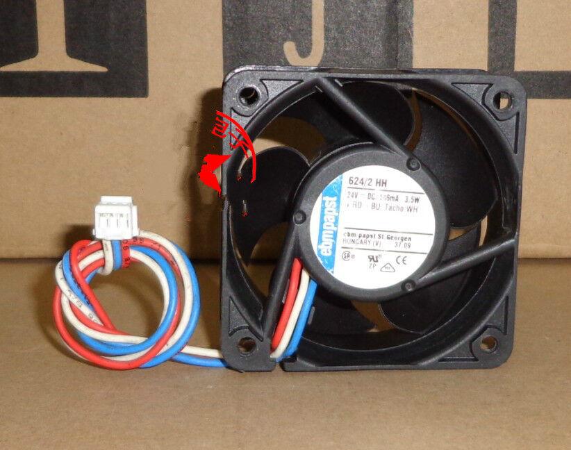 1pcs ebmpapst 624 2 HH 6cm 6025 24V 146mA 3.5W 3-wire ingreener fan