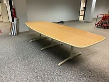 10w Oval Shape Conference Table By Steelcase Office Furn With Med Oak Lamin Top