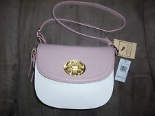 EMMA FOX Leather Crossbody Saddlebag Purse Handbag NEW Pink & White