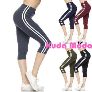 32ee74358285b2 Women's Capri Leggings with White Stripes Soft Skinny Stretch Sports ...
