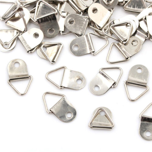 50pcs Silver Triangle Mirror Hangers Strap D-Ring Hanging Picture Frame Hooks ME