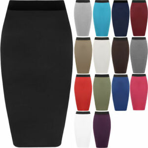 Ladies-Plain-Office-Women-039-s-Stretch-Bodycon-Midi-Pencil-Skirt-Plus-Size-8-26