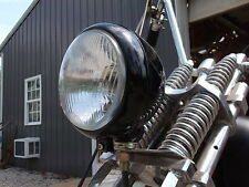 MOTORCYCLE BSA TRIUMPH HARLEY CUSTOM CHOPPER RAT BIKE, RAT ROD HEADLIGHT. BLACK