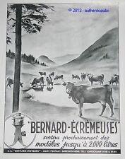 PUBLICITE ANCIENNE ECREMEUSE BERNARD MOTEURS LAIT VACHE 1942 RENE FIALON AD