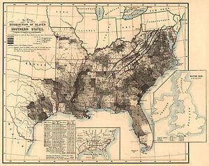 "1864 Map SLAVERY distribution Trade, Black History, antique U.S America, 30""x24"""