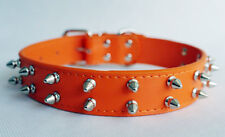 2 Rows Spiked Studded Leather Dog Collar for Pitbull Terrier Large Breed 7 Color