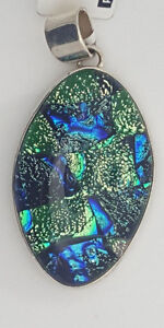 .925 Sterling Silver Hand Crafted Artsy Wild Dichroic Glass Blue Green Pendant