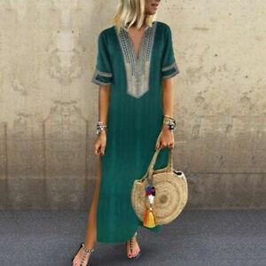 S-5XL-Women-Bohemia-Casual-Loose-Floral-Kaftan-Maxi-Dress-Ladies-Long-Dress-Hot