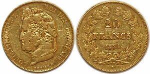LOUIS-PHILIPPE-20-FRANCS-OR-1834-L-BAYONNE-G-1031-PARIS-GOLD
