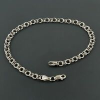 14k White Gold Classic Double Link 7.25 Inch Charm Bracelet