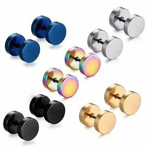 2 Pair Black /& Silver Stainless Steel Stud Earrings Set Ear Piercing Plugs Tunnel Punk Style 8mm A