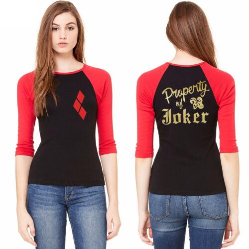 Women Harley Quinn Suicide Squad Joker Raglan 3//4 sleeve T-Shirt Cosplay Costume