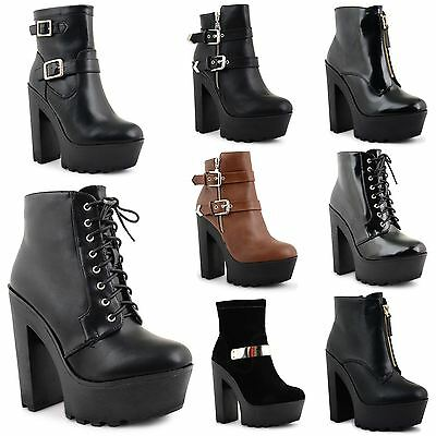 Womens Ladies High Chunky High Heel Cleated Sole Ankle Chelsea Boots Shoes 3-8