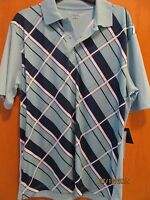 Men's Size Xxxl Mint Green W/blue Plaid Polo Golf Shirt With Tags