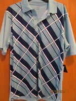 Men's Size Xxxl Mint Green W/blue Plaid Polo Golf Shirt With Tags