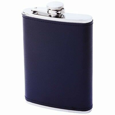 New 8 oz Black FLASK SOLID Genuine LEATHER Stainless Steel Screw Cap Hip Pocket