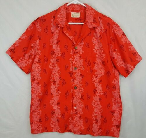 VTG 50s Royal Hawaiian Red Floral Lei Sz L Holiday