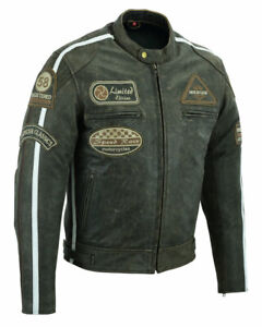 Herren Motorrad Lederjacke Vintage Biker Chopper Jacke mit  CE Protektoren