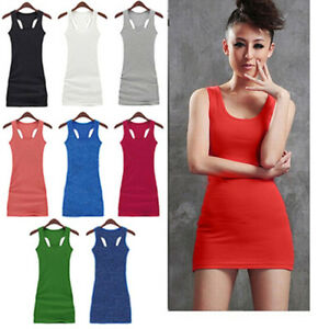 NEW-Candy-Colors-Women-039-s-Casual-Solid-vest-dress-vest-tops-long-T-shirt-Dress