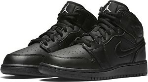 465f93c0733b6 NEW 554725-044 Boys  Air Jordan 1 Mid BG (GS) Shoe!! BLACK BLACK