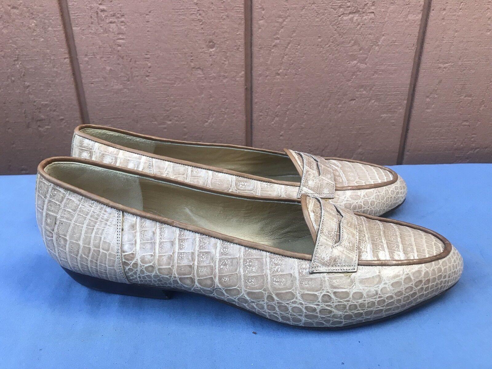 NEW Ugo Rossetti Rossetti Rossetti Women's US 9 Beige Brown Leather Alligator Print Flat Loafer A7 1d4f06