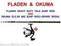 Fladen Heavy Duty Telescopic Beachcaster Rod+okuma Ecl-80 Reel+line Bass Cod