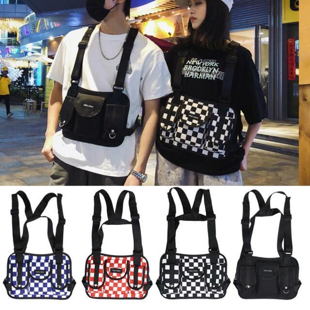Oxford Hip Hop Lattice Waist Belt Pack Tote Women Men Harness Vest Chest Rig Bag