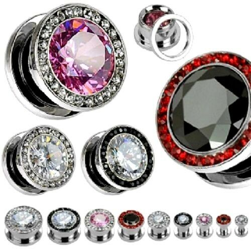 PAIR of Fancy Gem SCREW-FIT EAR PLUGS Gauges FLESH TUNNELS Body Piercing Jewelry