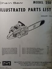 Mcculloch 250 Chain Saw Parts Manual Chainsaw Gasoline Engine 2 Cycle 1963