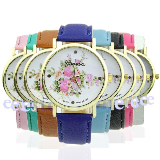 Trendy  Rose Flower Dial Women's Leather Strap Quartz Analog Dress Wrist Watch