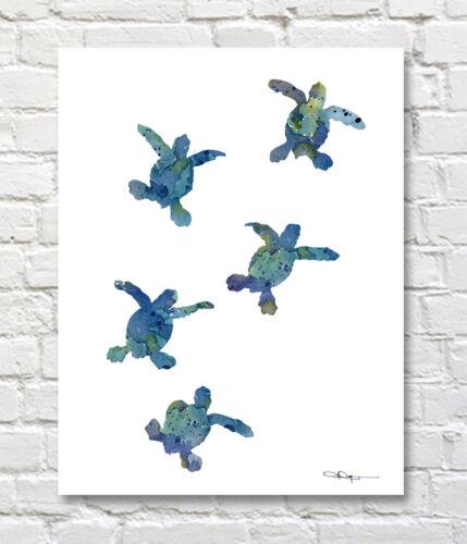 Baby Sea Turtles Watercolor Painting Art Print by Artist DJ Rogers