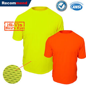 Hi-Vis-T-Shirt-Non-Ansi-Neon-Yellow-Orange-High-Visibility-Shirt-Size-S-4XL-Tee